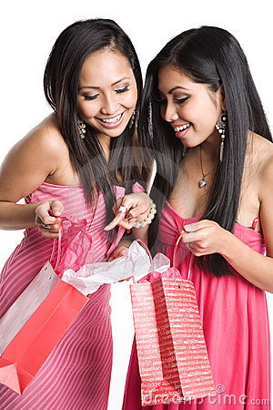 Asian women receiving valentine gifts
