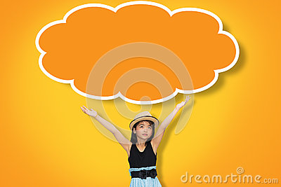 Asian young girl hand up in the air with blank think cloud