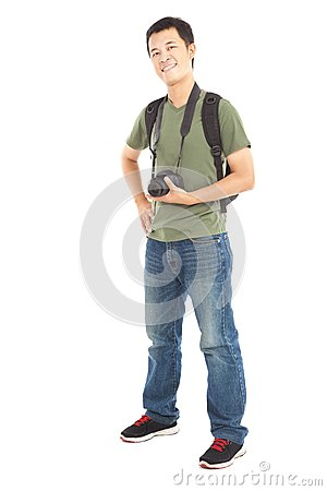 Asian young man with camera