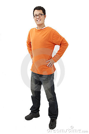 Asian young man with orange t-shirt