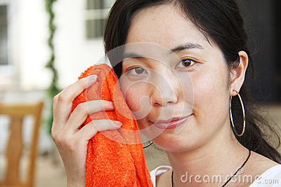 Asian young woman  clean face