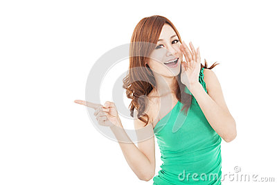 Asian young woman shouting and pointing