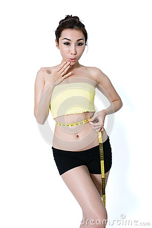 Free Asian Young Woman Slim Fit  Is Measuring Waist On White Studio B Royalty Free Stock Image - 88337706