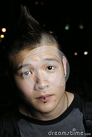 Asian youth pierced lips