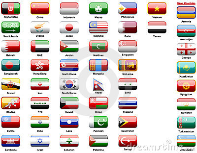 Asiatics flags of countries