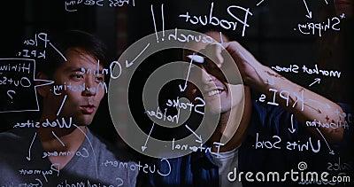 Asiatisk affärsman som förklarar diagrammet