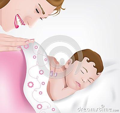 Asleep baby girl with mother