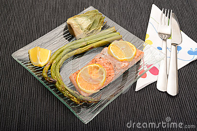 Asparagus,artichoke and salmon dish