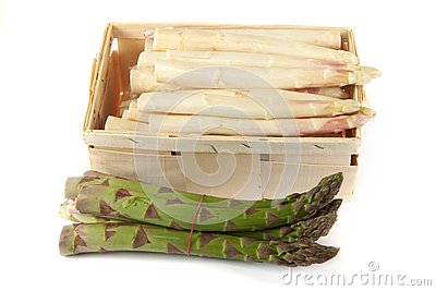 Asparagus in wooden box