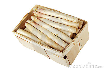 Asparagus in wooden box including clipping path