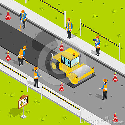 Asphalt Laying Isometric Composition Vector Illustration