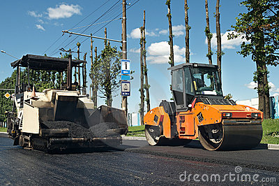 Asphalt pavement machinery at work