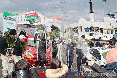 Asphalt Rally Cup Liburna, winners, podium team Editorial Stock Photo