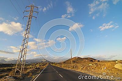 Asphalt Road in the Desert
