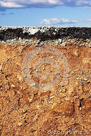 Asphalt road excavation earthquake cross section