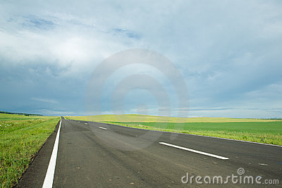 Asphalt road in field