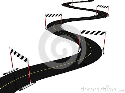 Asphalt road with many hurdle obstacle barriers