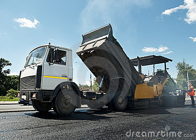 Asphalt road repairing works