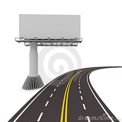 Asphalted road with billboard. Isolated 3D
