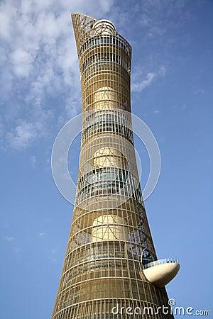 Aspire Tower aka Torch hotel in Doha, Qatar Editorial Photography