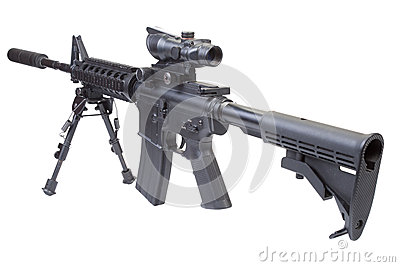 Assault rifle with bipod