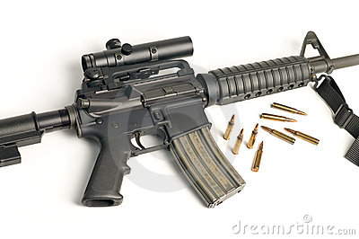 Assault Rifle with Scope & Bullets on White