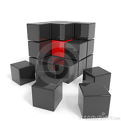Assembled black cube with red core.