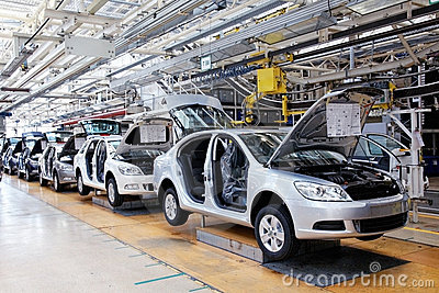 Assembling cars Skoda Octavia on conveyor line Editorial Stock Image