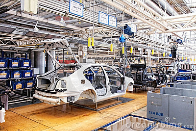 Assembling cars Skoda Octavia on conveyor line Editorial Photo