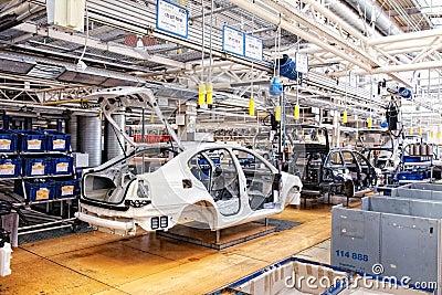 Assembling cars Skoda Octavia on conveyor line Editorial Photo
