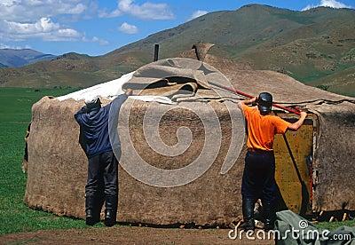 Assembling a yurt, Mongolia