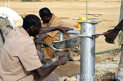Assembly of a pump in Burkina Faso Editorial Image