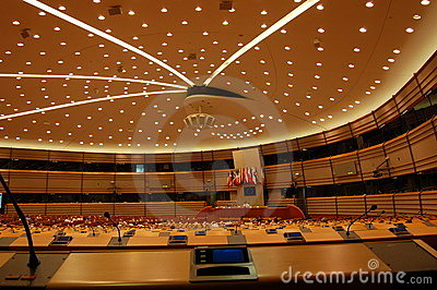 Assembly Room European Parlament Brussels Editorial Image