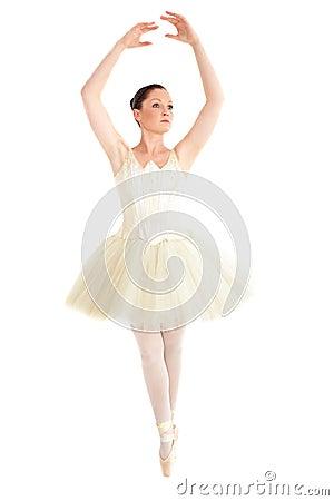 Assertive ballerina dancing on points