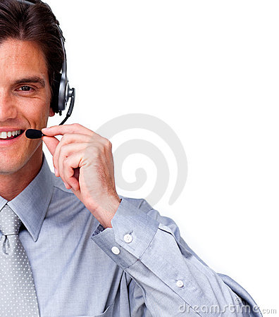 Assertive Businessman talking on headset