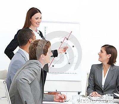 Assertive businesswoman doing a presentation