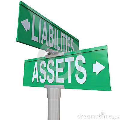Assets Vs Liabilities Two Way Road Street Signs Accounting