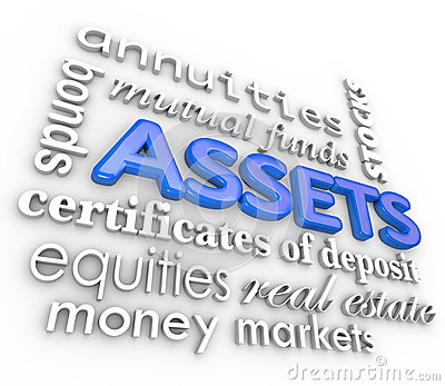 Assets Word Collage Stocks Bonds Investments Money Wealth Value