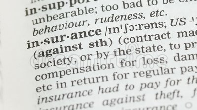 Assicurazione, significato scritto nella protezione inglese di vocabolario, di salute e della proprietà stock footage