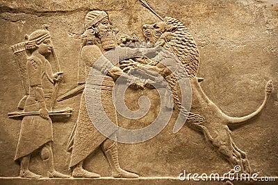 Assirian warrior hunting lions