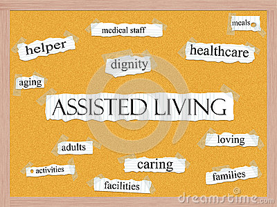 Assisted Living Corkboard Word Concept