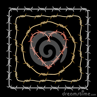 Assorted barbed heart circle square