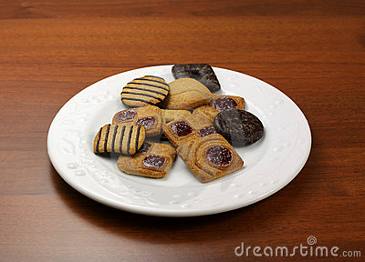 Assorted biscuits on table