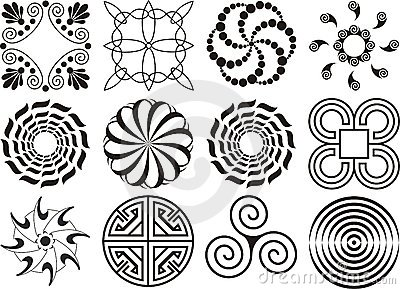 Assorted black & white design elements