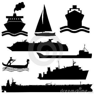 Free Assorted Boat Silhouettes Royalty Free Stock Photo - 7143345