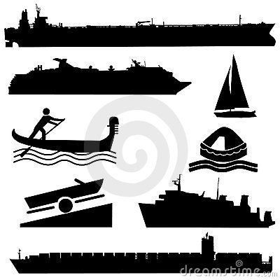 Free Assorted Boat Silhouettes Stock Photos - 9689293