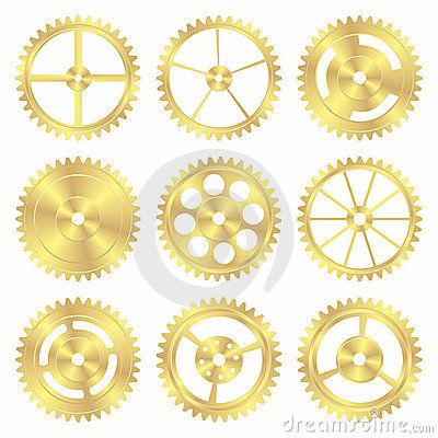 Free Assorted Brass Gears Royalty Free Stock Image - 16124466