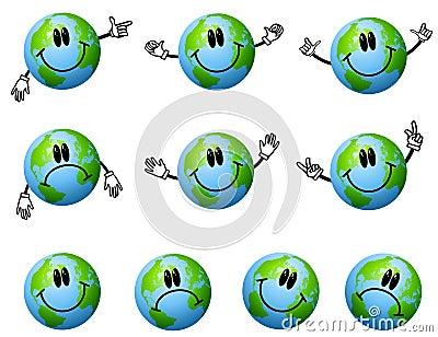 Assorted Cartoon Earth Characters
