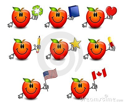 Assorted Cartoon Red Apples