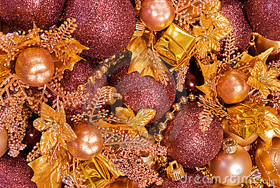 Assorted christmas decorations - baubles, garlands
